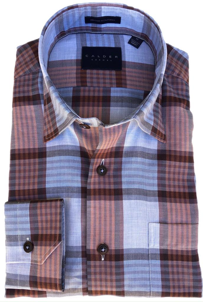 Blue & Rust Orange Plaid Sport Shirt