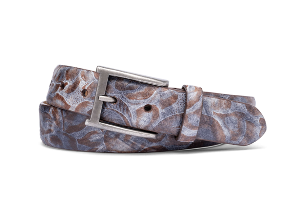 Two-Tone Tooled Calf Belt with Antique Buckle