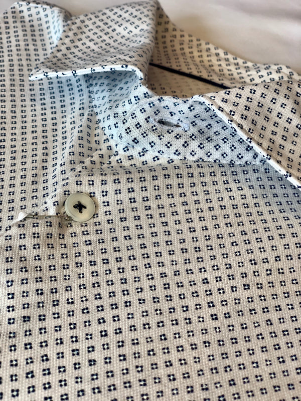 White Geometric Dot Polo