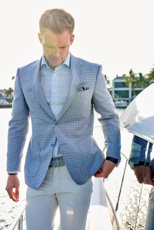 Canali Blue Houndstooth Sport Coat