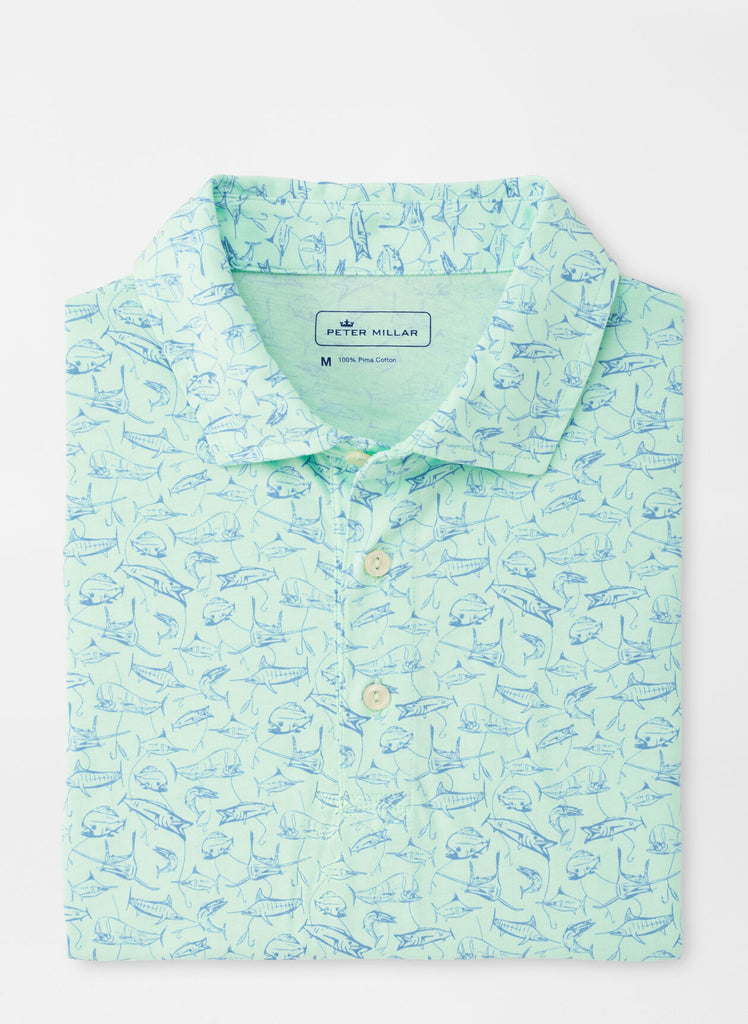 Fish In The Sea Aqua Cotton Polo