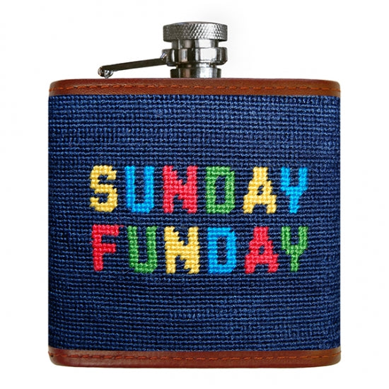 Sunday Funday Needlepoint Flask