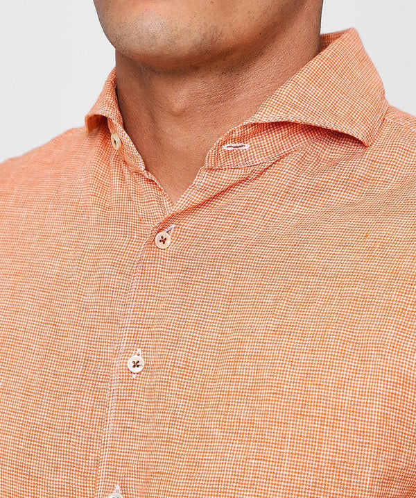 Orange Linen Check Shirt