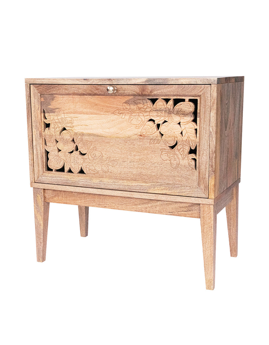 Hand Carved Floral Wood Cabinet