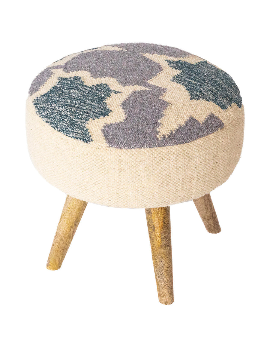 Handwoven Indigo Patterned Stool