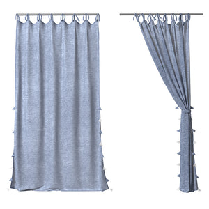 Chambray Linen Curtain with Tassels