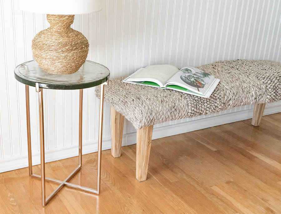 Glass and Rose Gold Side Table