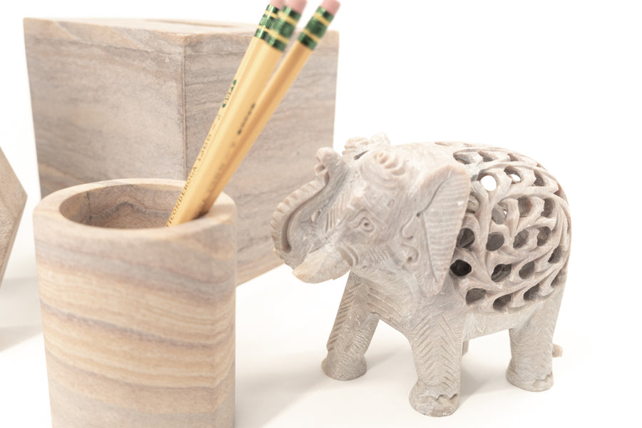 Hand Carved Marble Elephant - Extra Large - Anaya Home