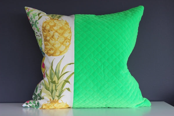 Remnants in Quilted Green and Pineapples - 45cm x 45cm