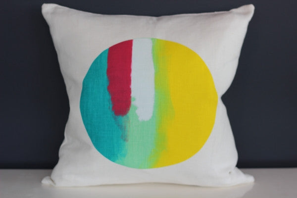 Lunar in Blues and Yellows Cushion by Josie Dawson Handprinted Textiles - 45cm x 45cm