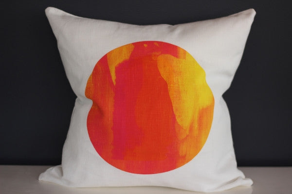 Lunar in Pinks and Yellows Cushion by Josie Dawson Handprinted Textiles - 45cm x 45cm