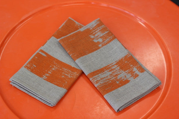 Smitten Print & Design Napkins - Big Texture Stripe Orange on Flax