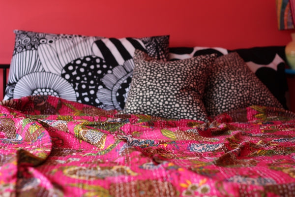 Kantha Throw in Hot Pink