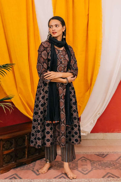 Black panelled Anarkali kurti with printed pants and crinkled dupatta - set of three - Label Raasleela