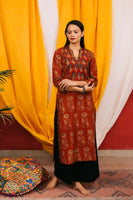 Ajrakh boota printed kurta with yoke detailing and threadwork - Label Raasleela