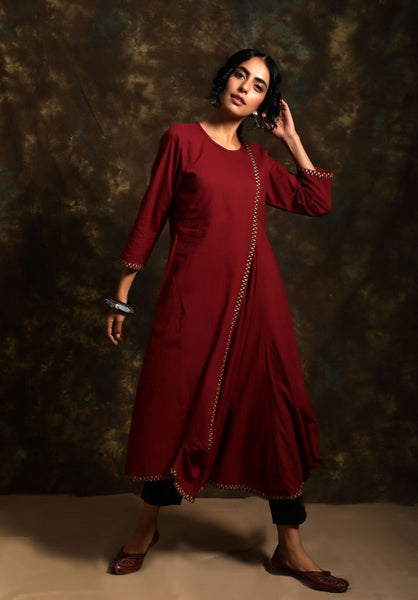 Asymmetric mulmul anti-fit jhabla tunic - Label Raasleela