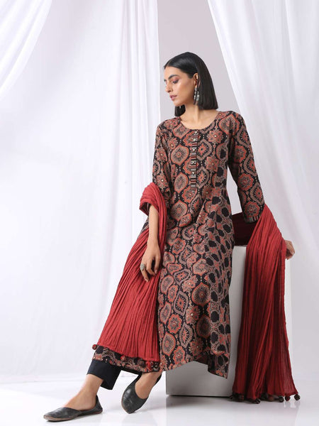 Indian Anarkali kurta with printed pants and crinkled dupatta - set of three - Label Raasleela