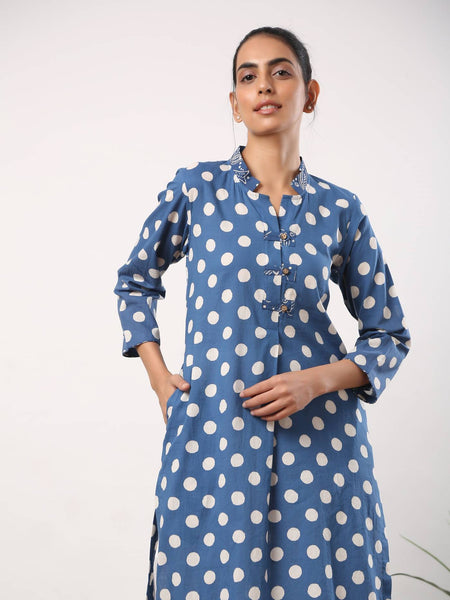 Indigo polka dot kurta with patch buttons - Label Raasleela
