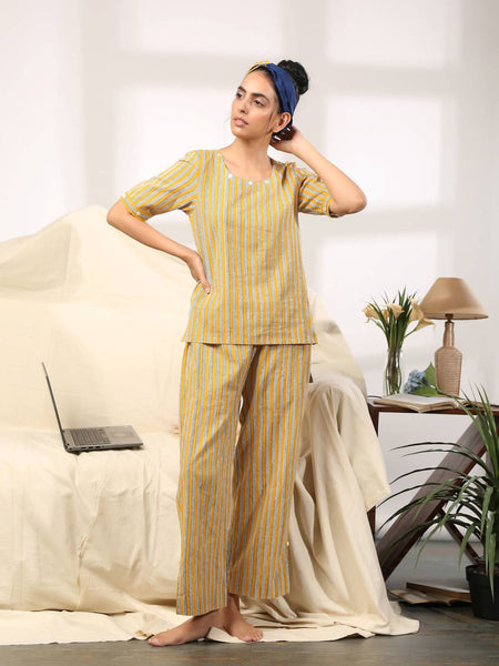 Yellow striped co ord lounge wear set - Label Raasleela