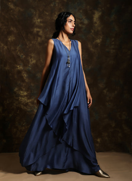 Silk long gown in deep blue - Label Raasleela