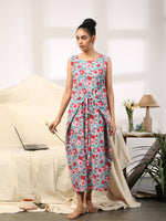 Blue red floral cotton maxi dress with waist tie up - Label Raasleela