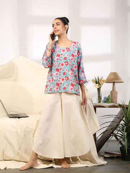 Blue red womens cotton top with criss cross sleeves and cool lounge pants - Label Raasleela