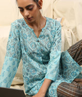 Blue grey cotton kurti with check pants (Premium Loungewear) - Label Raasleela