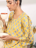 Pastel yellow top with criss cross sleeves and cool lounge pants - Label Raasleela
