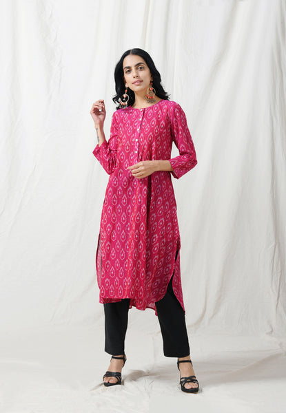 Dark pink easy fall Ikat Kurta - Label Raasleela