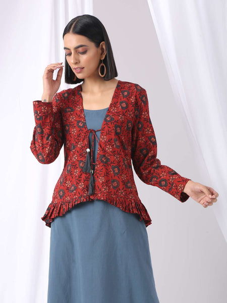 Ajrakh block printed open jacket - Label Raasleela