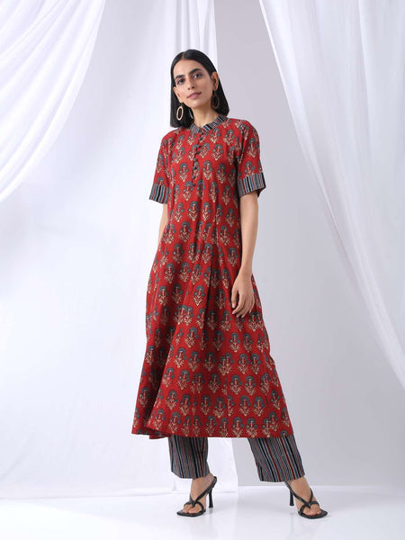 Red blue floral Ajrakh printed kurta - Label Raasleela