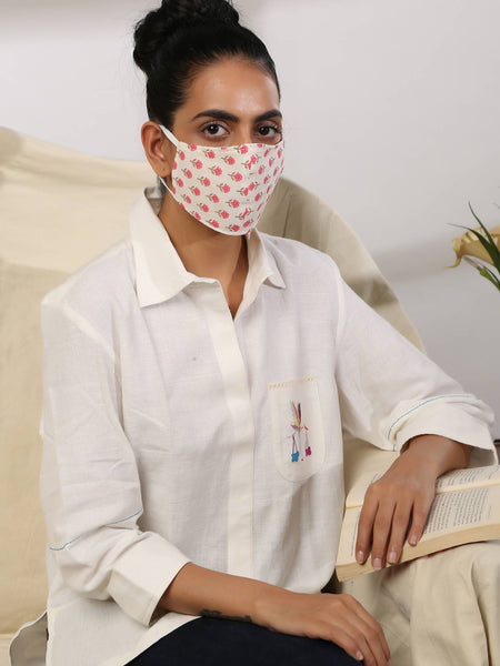 PEONY - Reversible Cotton Face Mask with elastic and foam - Label Raasleela