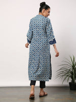 Indigo cross motif kurta with neck and sleeve patch with black pants - Label Raasleela