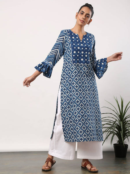 Indigo cross motif kurta with neck yoke and frilly sleeves - Label Raasleela