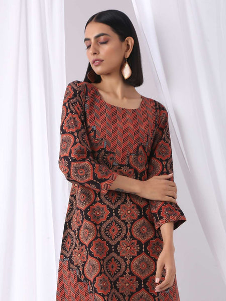 Dress in ajrakh prints - Label Raasleela