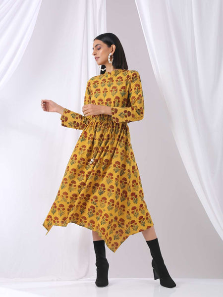 Yellow mustard asymmetrical midi dress - Label Raasleela