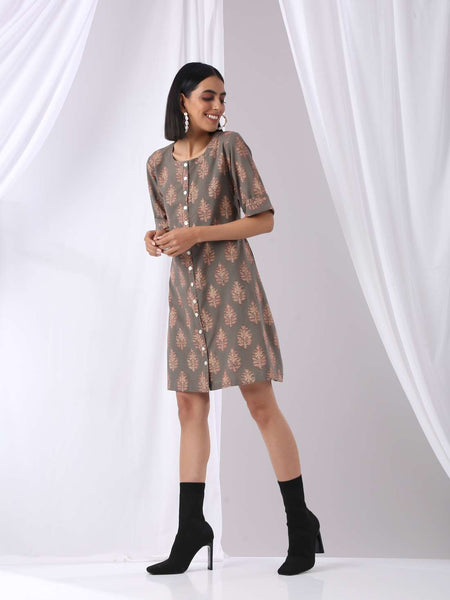 Block print dress with complimenting front and back fabric - Label Raasleela