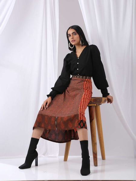 Aesthetic Midi Skirt - upcycled, patchwork, high waisted, Aline - Label Raasleela