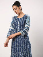 Indigo straight kurta with lacy sleeves - Label Raasleela