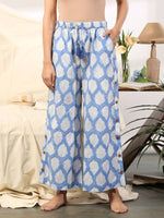 Blue leaf co ord loungewear set - Label Raasleela