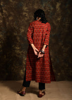 Vegetable dyed maroon floral kurta - Label Raasleela