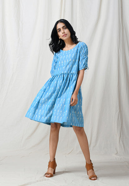 Light blue fit & flare dress with criss cross sleeves