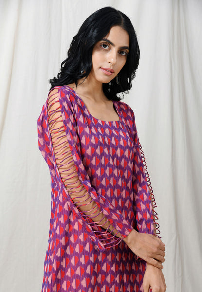 Purple Red dress with piped sleeves - Label Raasleela