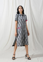 Grey shirt dress with pink details - Label Raasleela
