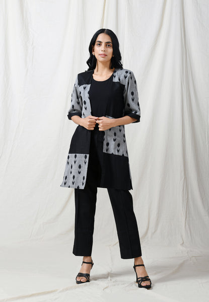 Black ikat patch open jacket - Label Raasleela