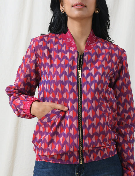 Purple Red bomber jacket - Label Raasleela