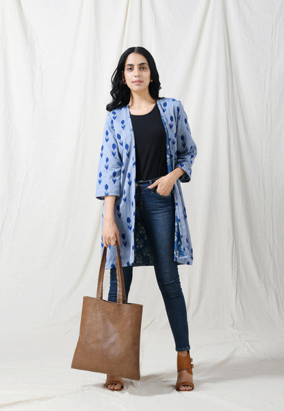 Blue Ikat open jacket with printed inner lining - Label Raasleela