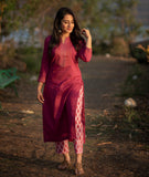 Onion pink embroidered kurta - Label Raasleela