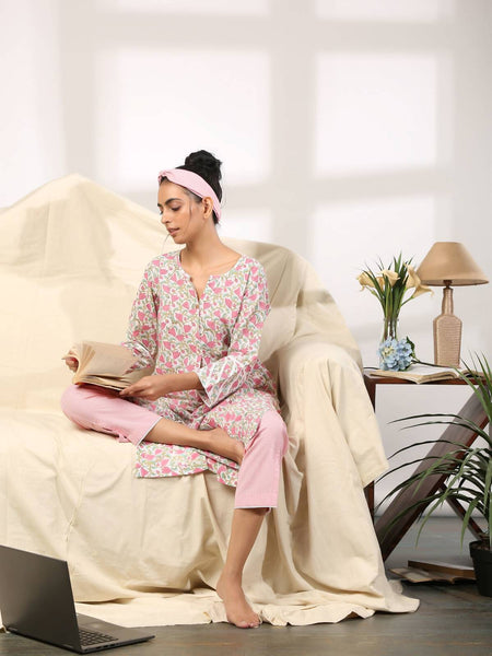 Pink cotton kurta with checked loose pants (Womens Loungewear set) - Label Raasleela