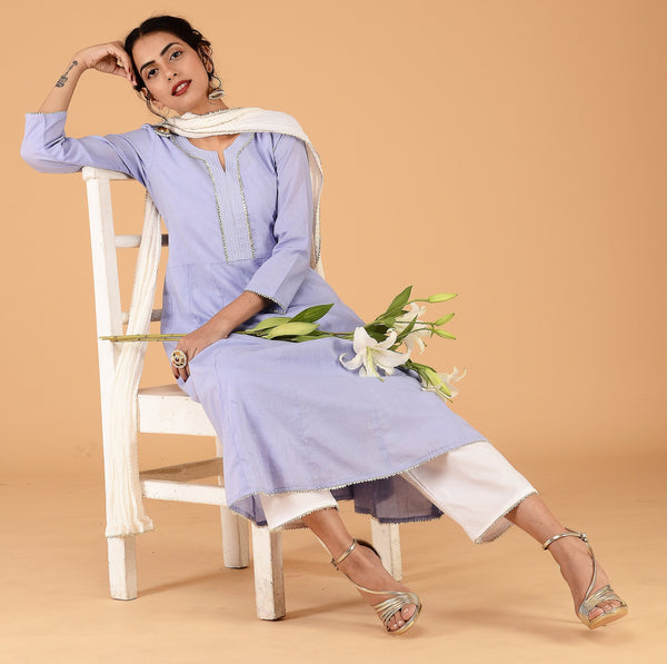 Lilac anarkali with pant and dupatta - Label Raasleela